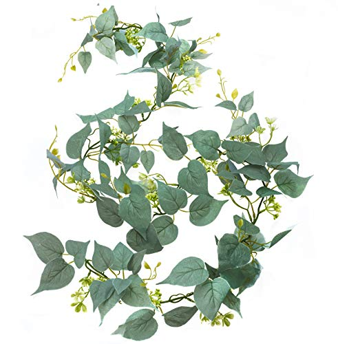 Artificial Greenery Garland, Fake Vine with Flowers, 6' Long Silk Faux Decorative Hanging Vine with Green Silver Leaves and White Flowers; Flower Garland for Table Wedding Party Home Garden Wall Decor