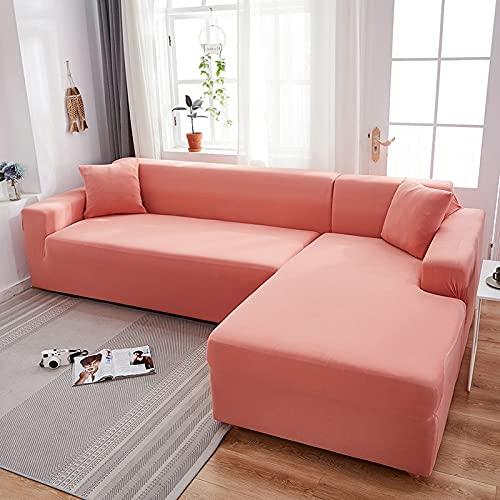 MKQB Viviendo Tramo Sala de sofá elástica Estirable Cubierta, Cubierta de sofá segmentado Esquina en Forma de L Modular Bien envueltos NO.2 la Funda de Almohada