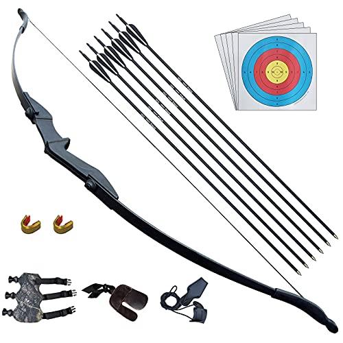D&Q Pfeil und Bogen für Erwachsene Anfänger Recurvebogen Set Linke/Rechtshändige 30lb 40LB Bogenschießen Kit Outdor Jagd Ausbildung(40lb)