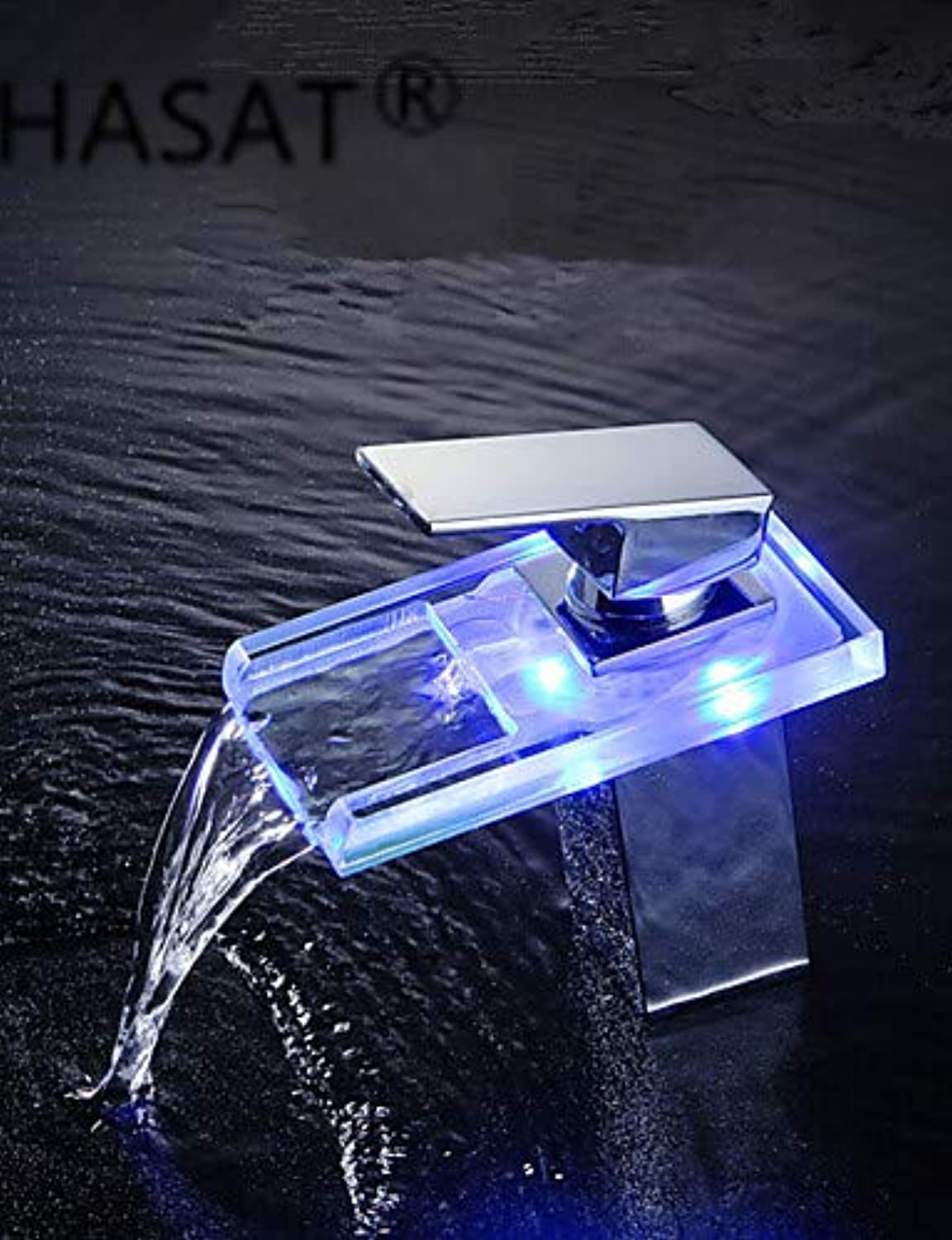 Mainstream home LPZSQ Tap Bathroom Sink Faucets with color Changing LED Waterfall Bathroom Sink Faucets  1173