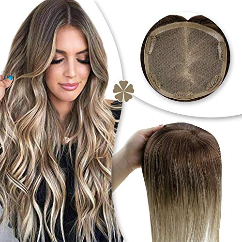 Hetto 16 Zoll Balayage Farbe Braun Mixed Blonde #3/8/22 Haarteils Toupee Hair Piece Remi Mono Topper Echthaar Party Piece on Head Band 13X13Cm