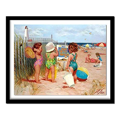 Hanjiming 5D DIY diamantschilderij kruissteekschilderijen diamant-kits diamantborduurwerk groep kinderen die romantiek aan zee spelen 80 x 100 cm.