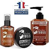 Kit cosmétique pour barbe - Huile à barbe 30ml + Baume à barbe - 30ml + Shampoing pour barbe 60ml | Pour l'entretien et le soin de barbe - FABRIQUE EN FRANCE ✮ BARBER TOOLS ✮