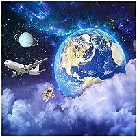 Wkxzz 壁の背景装飾画 カスタム壁画壁紙地球スター宇宙宇宙銀河惑星背景写真壁紙アート壁画リビングルーム-350X250Cm