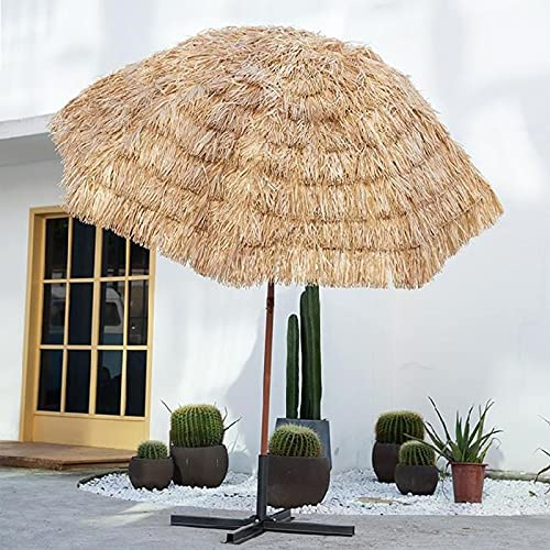 QIMO Hawaiian Thatch Garden Beach Umbrella,Sun Shade Tilt Sunbrella Protection,Round Parasol Hawaiian Hula Beach Umbrella,for Outdoor Gardens Pool Balcony Patio, Straw Umbrella