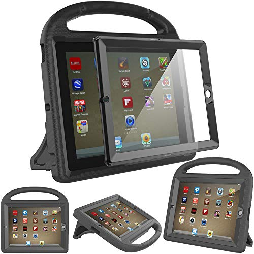Surom Kids Case with Built-in Screen Protector,Shockproof Handle Stand Case for iPad 2 3 4,Black