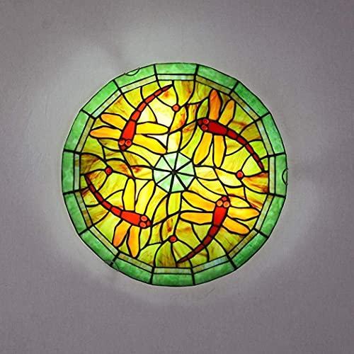 DALUXE Luz de Techo de libélula, luz de Techo de Vidrio de Manchas LED, 85-265V, luz empotrada de decoración Retro para Dormitorio