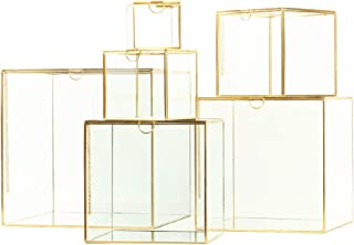 Koyal Wholesale Glass Museum Display Cases, Gold Cube Boxes, Set of 6 Mirrored Showcase Display Containers with Mirror Bottom, Gallery Modern Home Décor Furniture, Modern Wedding Aisle Pedestal Decor