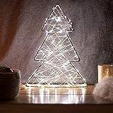 SnowEra Luz LED Decorativa de Metal en Forma de Árbol de Color Plata – Árbol de Navidad Pequeño – Adorno de Navidad con 140 microLED de Color Blanco Cálido