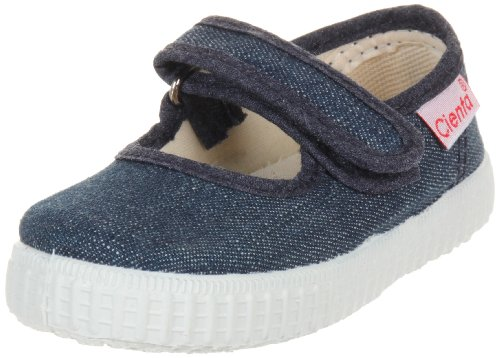 Childrenchic Mary Jane Flats with Hook and Loop Straps – Shoes for Girls (Velvet - Navy Blue, 31 M EU, 13-13.5 M US Little Kid)