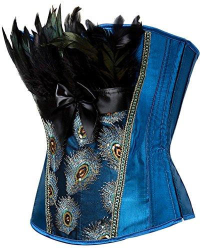 EUDOLAH Mujer Corsé de Plumas de Pavo Real Vintage Gótico Bustier con Falda(Azul,3XL)