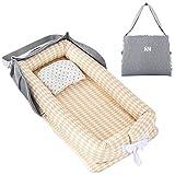 TEALP Reducteur de lit Bebe Cocon, réducteur Lit Bébé, Nid pour nouveau-né nourrisson, baby nest pour bébé couffin de voyage portable, diamant jaune