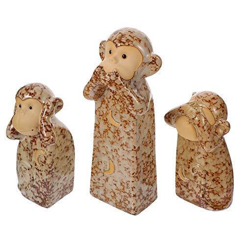 BESPORTBLE 3Pcs See No Evil Hear No Evil Não Falam Mal 3 Figurinhas Estátuas Estátua De Cerâmica de Animais Macaco Sábio Três As Verdades de Homem Estatueta