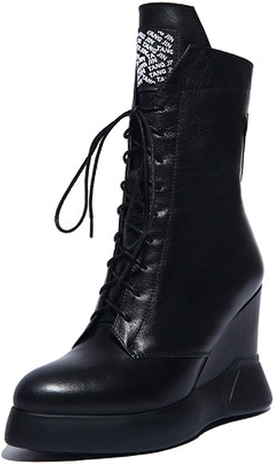 MINIVOG Height Incresing Wedge Patent Leather Martin Ankle Booties
