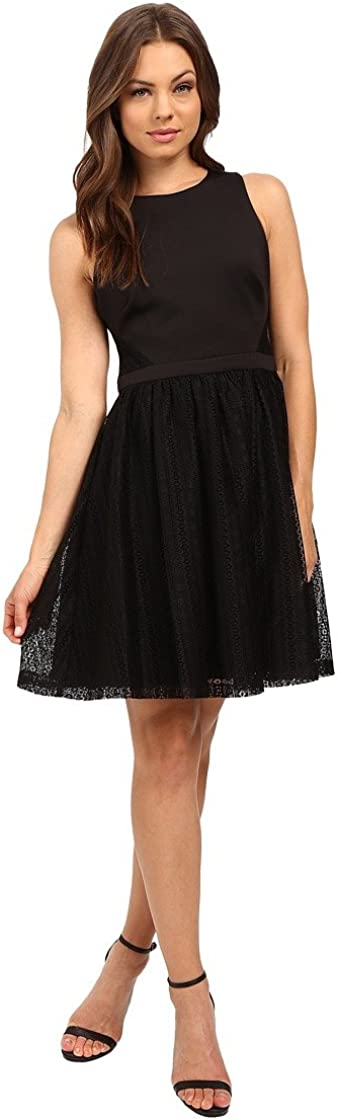 Jessica Simpson Women's Scuba Lace Fit-and-Flare Dress