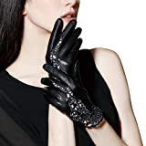 FIORETTO Women Sexy Driving Leather Gloves Unlined Touchscreen Lace Embroidery Italian Nappa