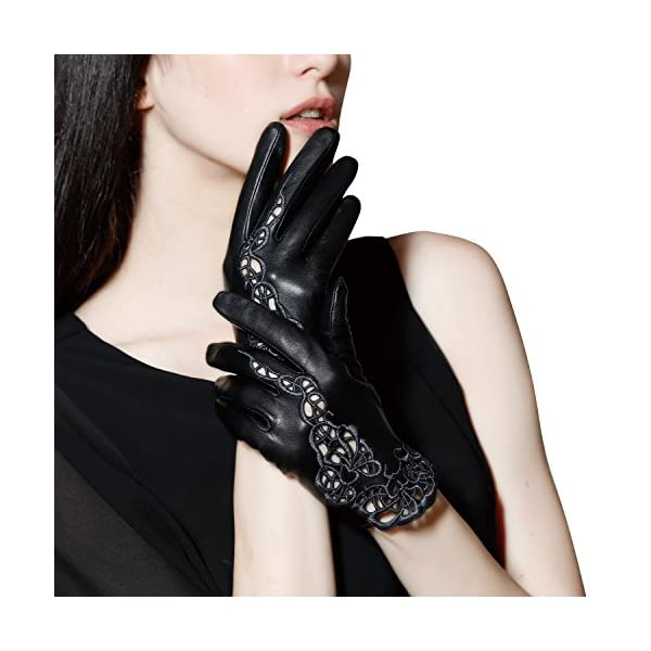 Fioretto Women Sexy Driving Leather Gloves Unlined Touchscreen Black Lace Embroidery Italian Nappa