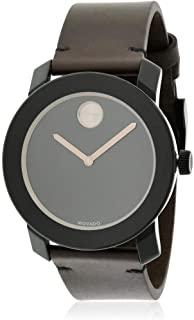Movado Men's Stainless Steel Swiss-Quartz Watch with Leather Strap, Brown, 22 (Model: 3600443)