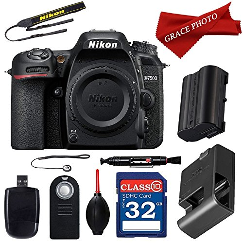 Nikon D7500 20.9MP DX-Format Digital SLR Camera (Body Only) + 32GB and Deluxe Accessory Bundle (10 Items)