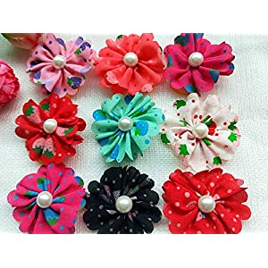 50pcs Pet Cat Puppy Hair Bows Rubber Bands Pearl Dog Grooming Accessories Mixed Colors