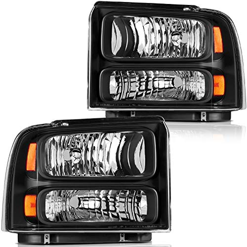 LBRST Headlight Assembly For Ford F-250/F-350/F-450 2005-2007 Black Housing Amber Reflector Clear Lens Driver And Passenger Side Headlamp