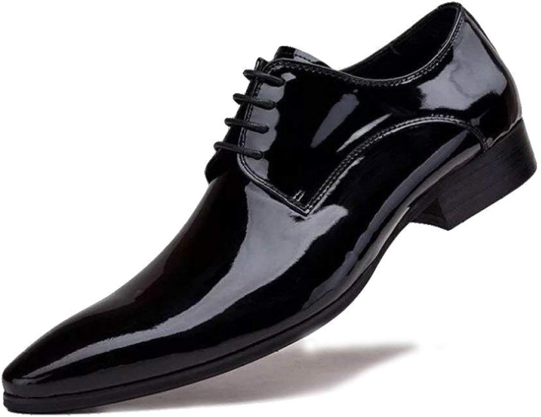 Willsego Derby à Bout Pointu Cuir véritable Pour des hommes Chaussures Brogues de Style Classique Chaussures Formelles Lacets Orteils pour Le Travail de soirée soirée de Mariage (Couleuré   Noir 2, Taille   43)