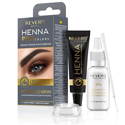 REVERS Henné crémeux pour les sourcils HENNA PRO COLORS à l'huile d'argan et à l'huile de ricin 30ml (1.1 GRIS GRAPHITE)
