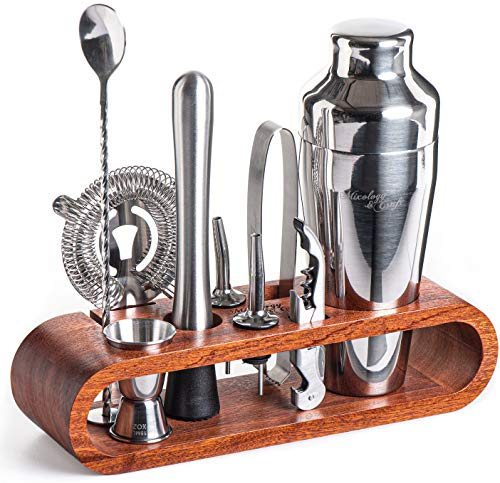 Mixology Bartender Kit: 10-Piece Bar Set Cocktail Shaker Set with Stylish Mahogany Stand | Perfect Home Bartending Kit with Bar Tools and Martini...