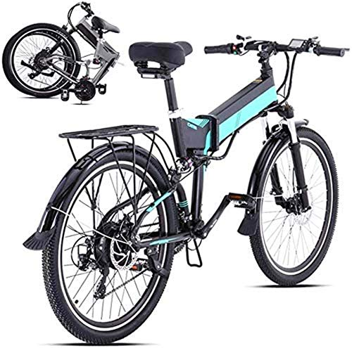 RDJM Ebikes, Electric Mountain Bike with 500W Brushless Motor, 48V12.8AH Lithium Battery And 26Inch Fat Tire (Color : Green)