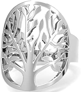Stainless Steel Tree of Life Wedding Anniversary Promise Statement Ring