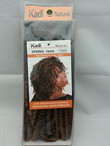 Kadi Natural Braiding Style, Hair Extension, Professional Grade Kanekalon (T1B/30 - Black /Medium Auburn, SPRING TWIST)