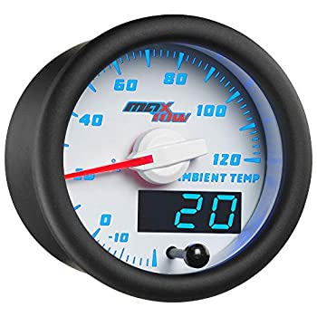MaxTow Double Vision Ambient Air Temperature Gauge Kit - Reads Outside Temp from -20-120 F - Includes Sensor - White Gauge Face - Blue LED Illuminated Dial - Analog & Digital Readouts - 2-1/16