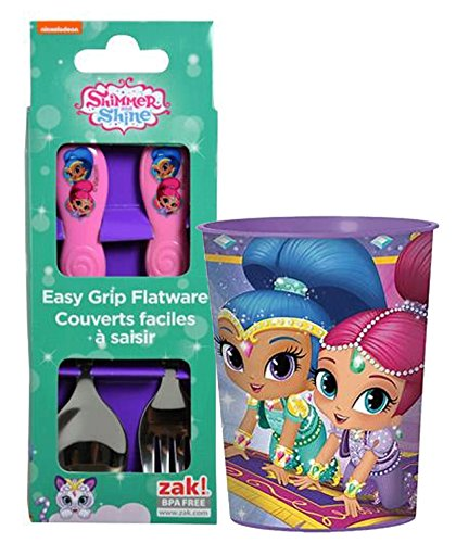 Zak Designs Shimmer and Shine Flatware Fork & Spoon for Kids! Plus Bonus Shimmer and Shine Tumbler Cup! BPA Free, 3pc Set