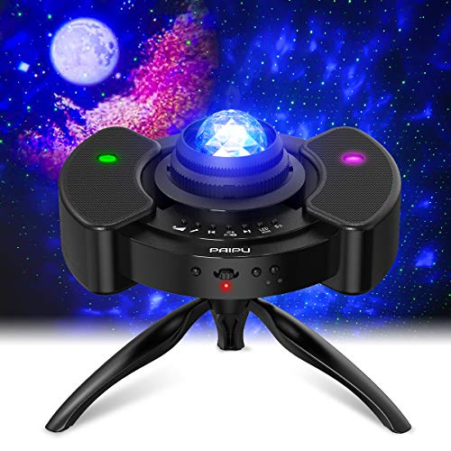 PAIPU Star Projector LED Night Light - UFO 4 in 1 Galaxy Projector,Starry Nebula Room Light with Adjustable Tripod Stand and Dual Stereo Speaker,for Baby Kids Adults Bedroom Party Wedding Decor