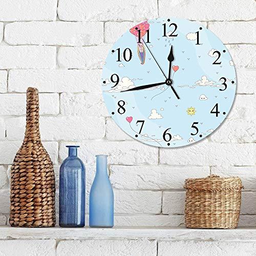 Silencioso Wall Clock Decoración de hogar de Reloj de Redondo,Unicorn Party, Flying Horse with Heart Balloons Diseño Infantil de Dibujos Animados femenin,para Hogar, Sala de Estar, el Aula