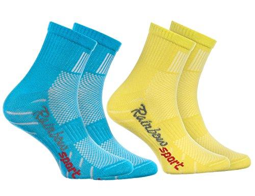 Rainbow Socks - Jungen Mädchen Sneaker Bunte Baumwolle Sport Socken - 2 Paar - Türkis Gelb - Größen 30-35