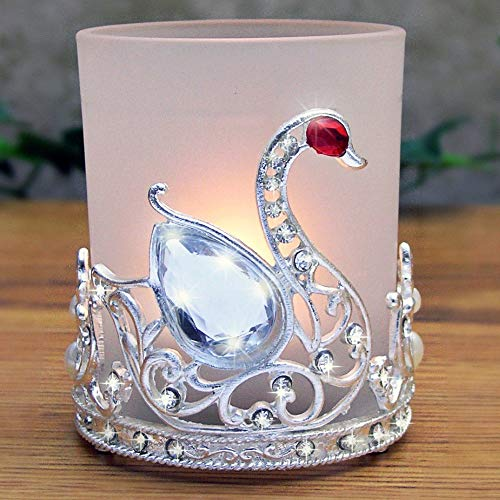 BANBERRY DESIGNS Swan Glass Candle Holder Filigree Silver Metal and Jewel Wedding Favor