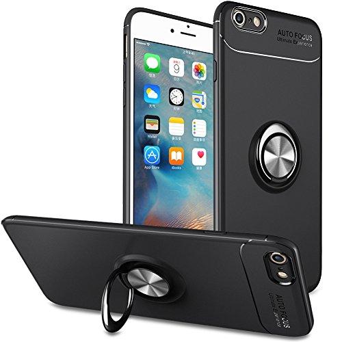 iPhone 6 Hülle Silikon,iPhone 6S Handyhülle Ring Kickstand,Slynmax Ringständer 360°Hülle Silikon Bumper TPU Schutzhülle für iPhone 6/6S 4.7',Schwarz