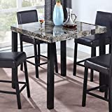 Best Master Furniture Britney Transitional Faux Marble Top Counter Table, Espresso Finish