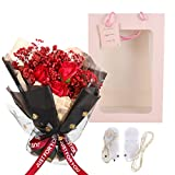 GARNECK 1 Set Romantic Dry Gypsophila Soap Rose Bouquet Gift Set with String Light and Gift Box Perfumado Artificial Rose Gift for The Valentine Day Birthday Wedding Red
