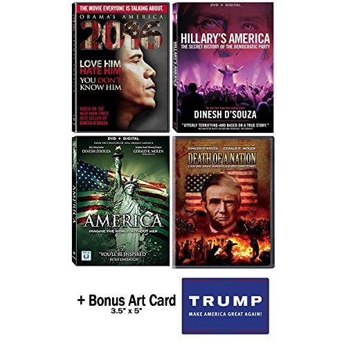Dinesh D'Souza Complete Documentary DVD Collection (Obama's America 2016 / America - Imagine The World Without Her / Hillary's America / Death Of A Nation) + Bonus Trump Art Card