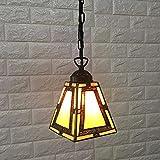 Lámpara Colgante De Techo,Lámpara De Araña Colgante Sala,Plafón De Techo Dormitorio,Lámpara De Moda Cuadrada De Vidrio Amarillo D18Cm