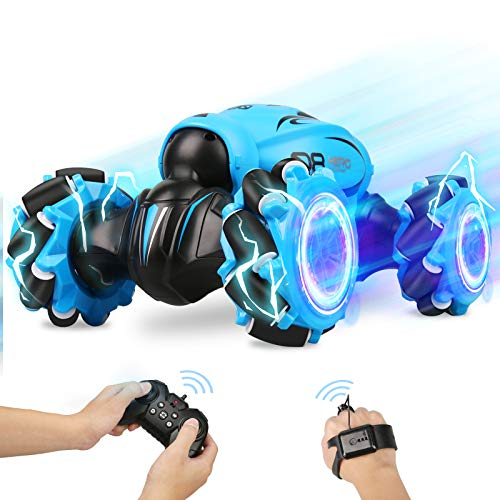 FLYNOVA RC Stunt Car,4WD 2.4GHz Remote Control Gesture Sensor Toy Car,Double Sided 360° Rotation Drift Road Vehicle with Lights Music for Boys & Girls