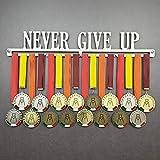 Never Give UP - Colgador de medallas Deportivas - Medallero de Pared - Sport Medal Hanger - Display Rack (750 mm x 115 mm x 3 mm)