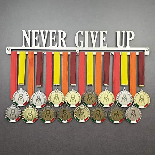 Never Give UP - Medagliere da Parete - Porta medaglie Motivazionale - Sport Medal Hanger - Display Rack (600 mm x 100 mm x 3 mm)