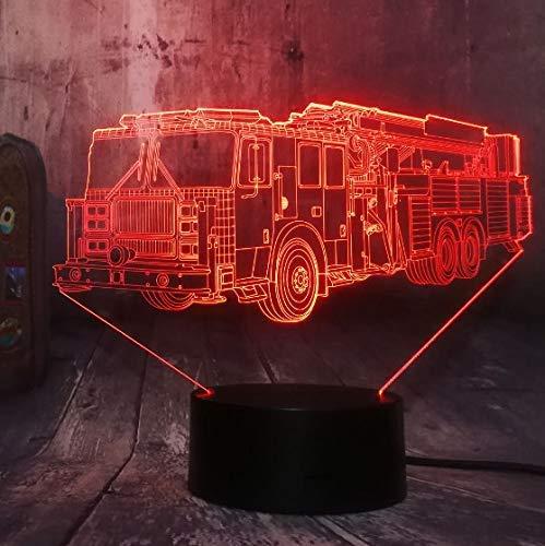 Lumière de nuit 3D Cool Fire Engine Voiture 3D Led 7 Couleur lampe de Poche Nuit Lumière Chambre Lampe de Bureau Décor À La Maison Enfant Enfant De Noël Halloween Jouet Cadeau