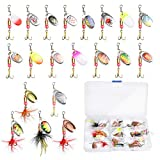 Fishing Lure Spinnerbait, Akamino 20 Pcs Trout Salmon Hard Metal Spinner Baits Kit with Tackle Boxes for Trout Salmon Walleye