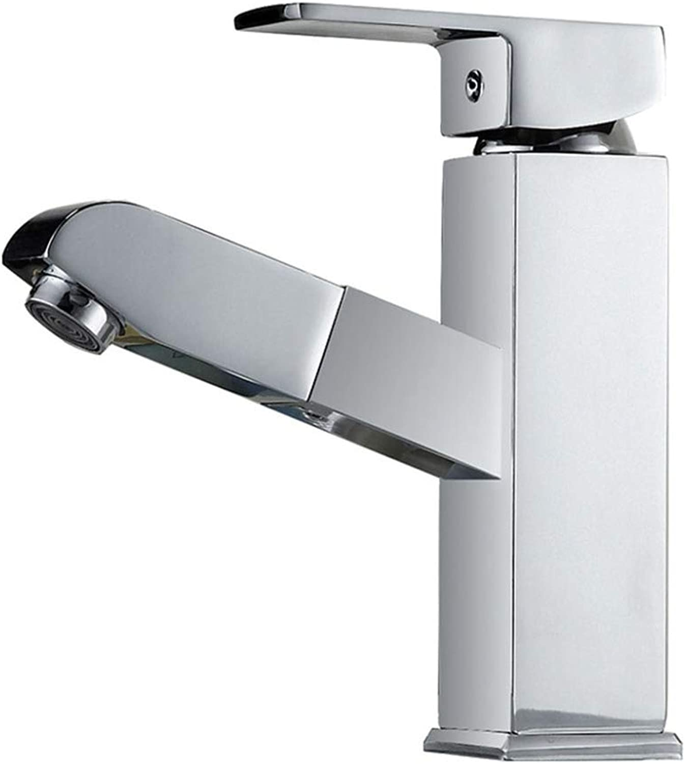 Bathroom Faucet, All Copper Plated Chrome Bathroom Vanity Pull-out Faucet, Hot And Cold Water Mixing Basin