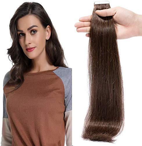 Tape extensions echthaar 40cm Remy Echthaar Haarverlängerung Tape In 20 Tressen 50g #2 Dunkelbraun