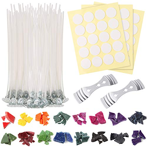 Sntieecr 128 Pieces Candle Making Kit Supplies, DIY Candles Craft Tools with 16 Colors Wax Candle Dye, 50 PCS 6 Inch Candle Wicks, 60 PCS Candle Wicks Sticker and 2 PCS 3-Hole Candle Wicks Holder